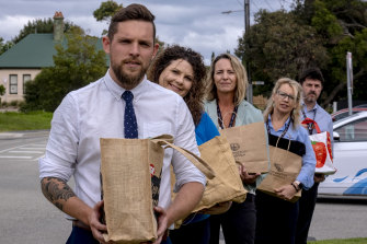 Ready to help: (from left) Mayor Sam Hearn, Kristy Costanzo, Jenny Van Riel, Jill Jacques and Gub Bergamin outside the Mornington Peninsula Shire Office on Tuesday.
