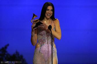 Dua Lipa accepts the award for best pop vocal album for Future Nostalgia.