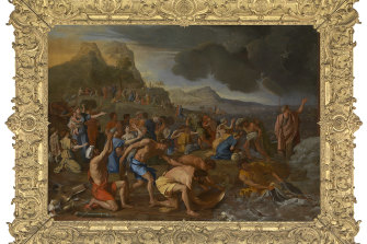 Nicolas Poussin's The Crossing of the Red Sea(1632-1634), oil on canvas, 155.6 × 215.3 cm.