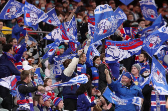Bulldogs fans show their delight during the match.