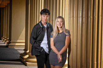 Wesley College students Zetian Lyu and Lucy Poole were pleased with their results.
