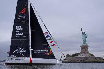 Greta Thunberg's yacht sails into New York.
