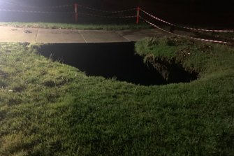 A sinkhole opened up in front of a home in Keilor East on Wednesday.