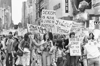 The long battle: Women march in Melbourne for International Women's Day in 1975.