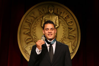Hall of shame: Jarryd Hayne collects the first of his two Dally M Medals in 2009.