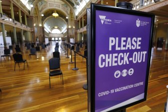The vaccination centre at the Royal Exhibition Building.