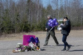A memorial pays tribute to nurse Kristen Beaton along the highway in Debert, Nova Scotia.