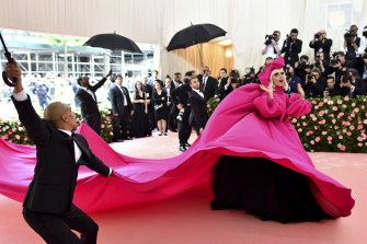 """Lady Gaga arrives at the Met's Costume Institute benefit gala for the """"Camp: Notes on Fashion"""" exhibition 2019."""