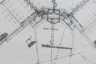 Initial 1963 drawings of a proposed underground train station at Melbourne Airport's international terminal.
