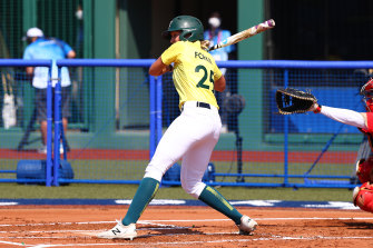 Chelsea Forkin was hit by a pitch in the first inning to force in Australia's only run for the game.