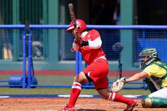 Sayaka Mori bats in the fourth inning against Australia at the Tokyo Olympics in Fukushima on Wednesday.
