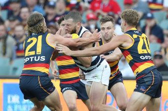 Sam Menegola was subbed out during the Cats' loss to the Crows.