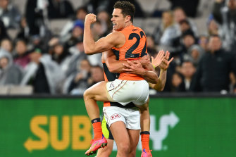Josh Kelly celebrates a goal for the Giants.