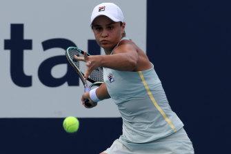 A focused Ashleigh Barty during her three-set Miami Open win over Victoria Azarenka.