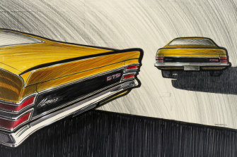 Peter Nankervis, HT Monaro GTS concept for a rear spoiler on the boot lid, 1967; digital print of marker pastel and pencil on vellum.