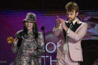 Billie Eilish, left, and Finneas accept the award for record of the year for Everything I Wanted.
