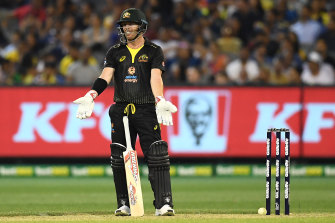 David Warner reacts after the ball hit  the stumps but did not dislodge the bails.
