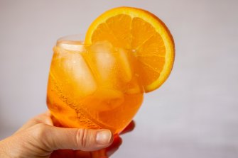 Aperitifs like a Ersatz Aperol Spritz are dry drinks usually enjoyed before dinner with light snacks.