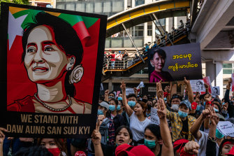 Demonstrators take to the streets of Yangon against the military coup, and call for the release of ousted state counsellor Aung San Suu Kyi. The three-finger salute, adopted from the Hunger Games films, has also been used as an anti-coup symbol of resistance in Thailand.