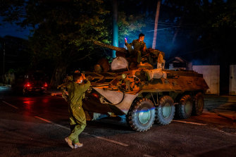 There was a strong military presence on the streets of Yangon and other cities across Myanmar on Sunday.
