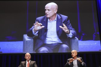 Dallas Mclnerney, chief executive officer of Catholic Schools NSW and Adrian Piccoli from the University of NSW Gonski Institute.