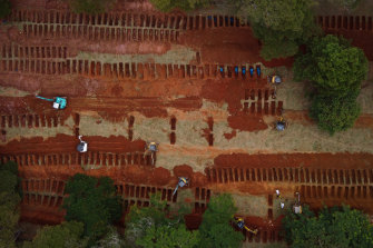 An aerial view of Vila Formosa cemetery as excavators open extra graves amid the coronavirus pandemic.