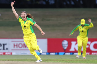 Australian star Megan Schutt celebrates the wicket of Amy Satterthwaite during game two of the one-day international series against New Zealand. Australia won by 71 runs - a record 23rd victory in a row.