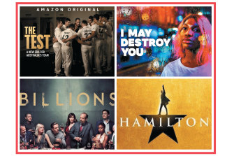 Streaming competition  has become fierce, with (clockwise, from top left) Amazon Prime (The Test), Binge (I Will Destroy You), Disney+ (Hamilton) and  Stan (Billions) all competing with Netflix for eyeballs.
