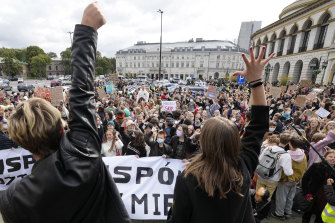 Climate protests also took place in Warsaw.