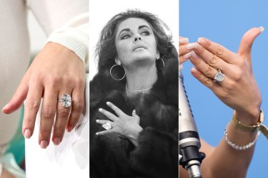 Rings composite. From left: Kim Kardashian, Elizabeth Taylor, J.Lo.