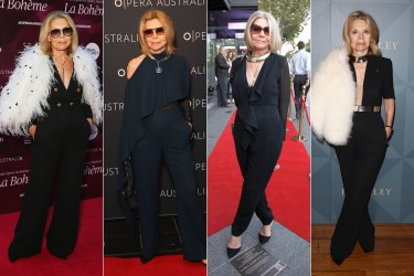 The late Carla Zampatti in her signature style, the jumpsuit.