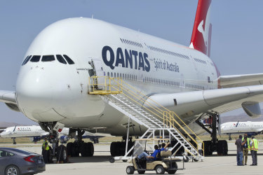 A Qantas Airbus A380 arrives at Southern California Logistics Airport in Victorville.