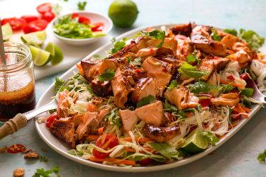 RecipeTin Eats' Asian glazed salmon noodle salad recipe.