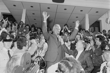 Gough Whitlam on the day he was sacked by the governor-general.