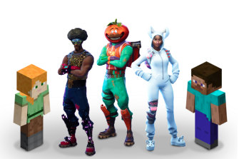 Characters from Minecraft and Fortnite.