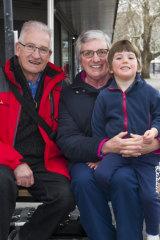 Bill and Sandra Mostyn, with Harry Deery, of Calwell.