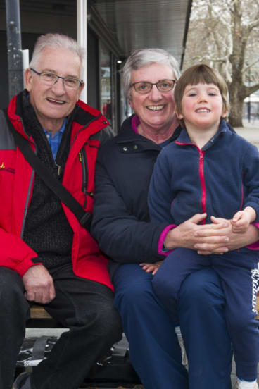 Bill and Sandra Mostyn, with Harry Deery, of Calwell.