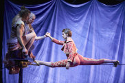 Jess McCrindle, Chelse McGuffin and Phoebe Armstrong perform in Circus Oz <i>Wunderage</I>.