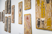 The exhibition includes works by Wandjuk Marika, among others.