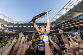 Sydney University celebrate back-to-back titles with a come-from-behind win, scoring three tries in the second half.