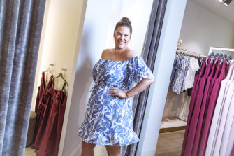 Forever New ambassador Amelia Stubbs at the new standalone curve store at Highpoint, in Melbourne.