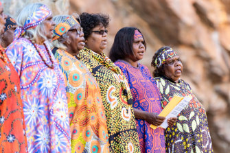 Members of the Central Australian Aboriginal Women's Choir will perform a new version of the national anthem that they're happy to sing on Sunday at the Desert Song Festival.