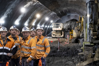 Workers in the Metro Tunnel on Thursday.