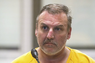 Brian Steven Smith appears in the Anchorage Jail courtroom on Wednesday, local time, after being arraigned on a charge of first-degree murder.