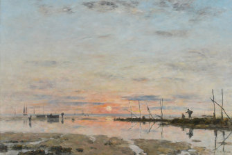 Eugène Boudin's Sunset at low tide (1884).