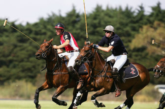 Horses are in the blood for Gillon McLachlan, pictured at right, racing for the ball in a 2007 The Age Polo International match.