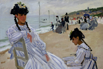 Claude Monet's On the beach at Trouville (1870).