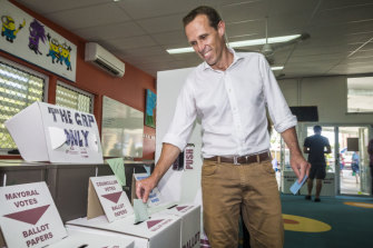 Labor lord mayoral candidate Rod Harding voting at the 2012 election. Mr Harding will again contest the mayoralty for Labor next year.