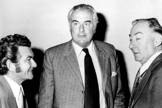 """""""The Prime Minister, Mr. Gough Whitlam confers with Mr. Bob Hawke, Senator Lionel Murphy in the city today."""" April 17, 1974."""