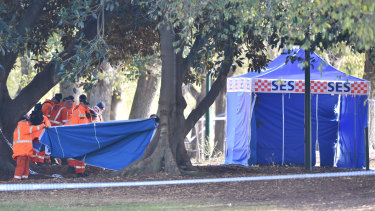 SES officers perform a line search in Fawkner Park, where a man was shot and killed on Friday night.